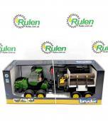 іграшка Bruder трактор з системою захоплення John Deere з причепом та колодами 02133 (Bruder)